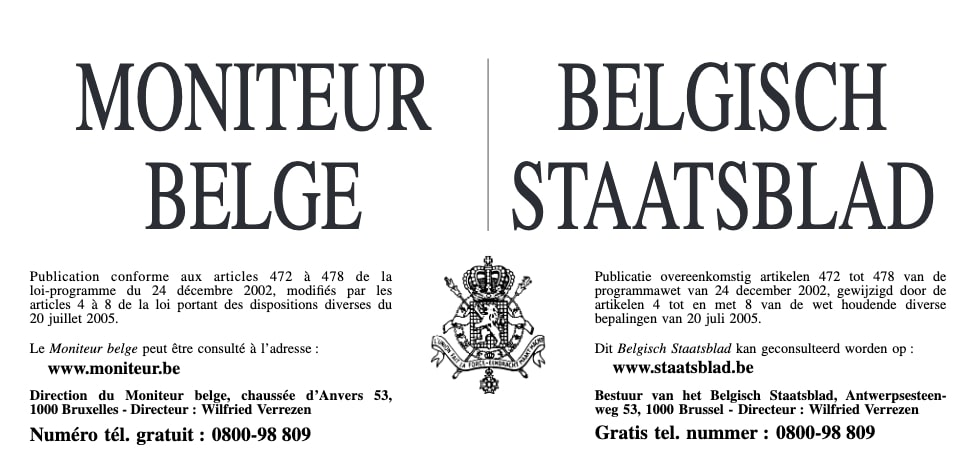 Comment faire publication moniteur belge